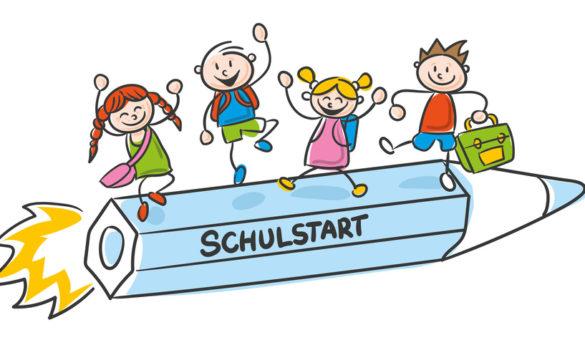 Strichfiguren Strichmännchen Kinder bunt Schulstart Vektor