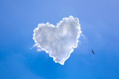 Heart shape of clouds on a clear blue sky